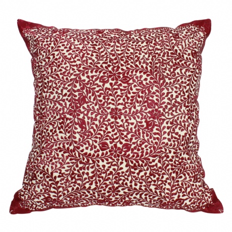 Moroccan Cushion Pillow Silk Square Burgundy Rabat Embroidery 60 x 60 cm 23.6 x 23.6'' CR5